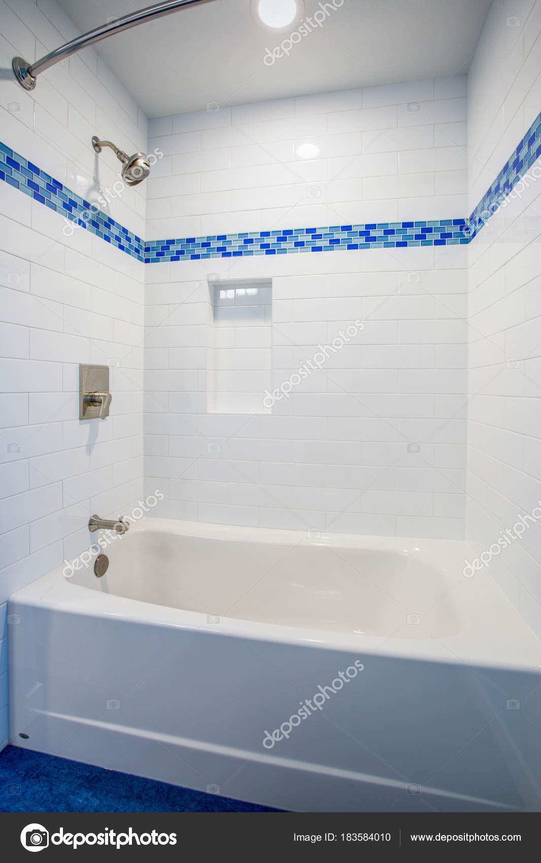 Fantastic bathroom with a drop-in tub and shower combo — Stock Photo ...