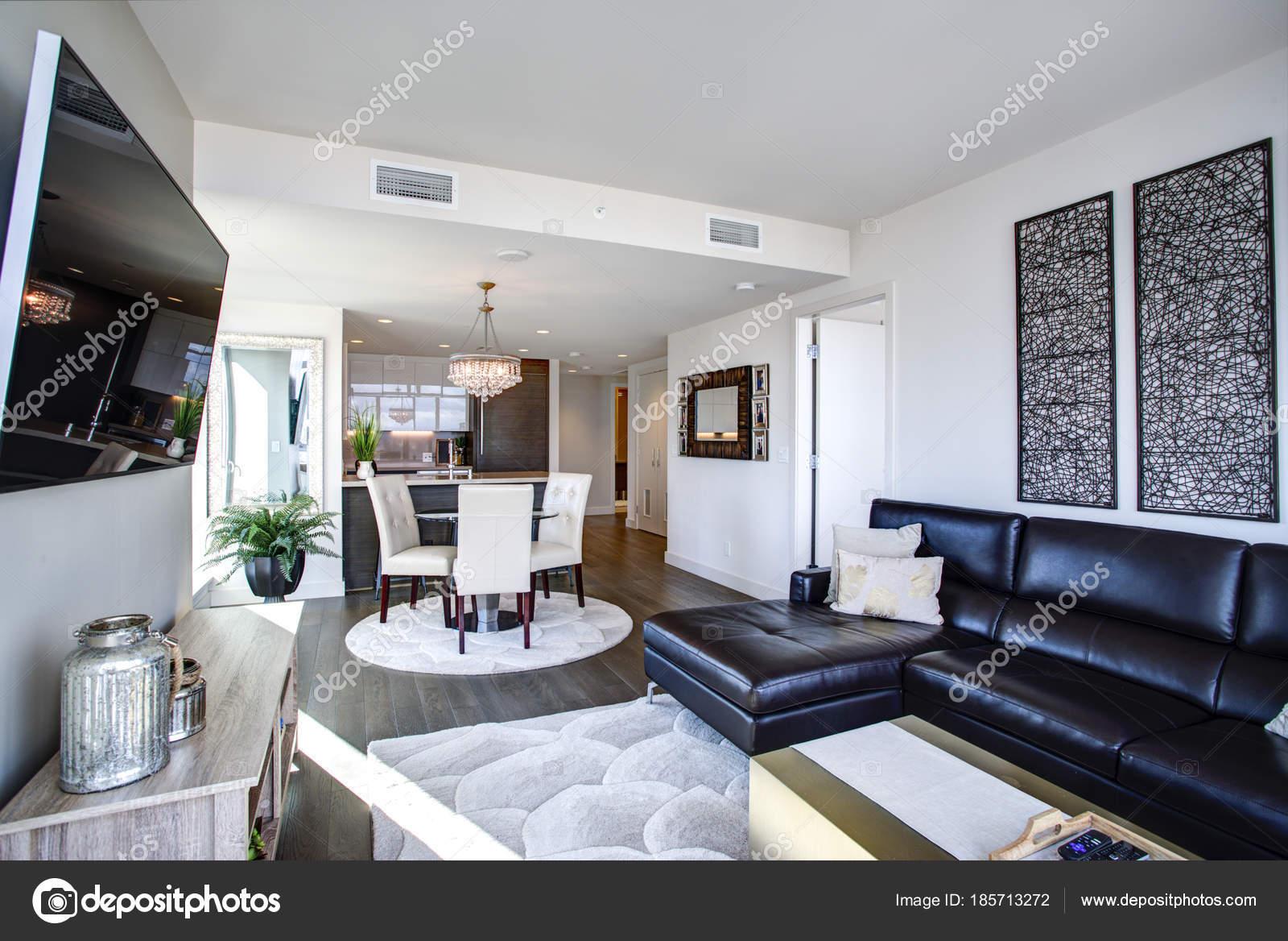 Zwart-wit woonkamer met modern design — Stockfoto © alabn #185713272