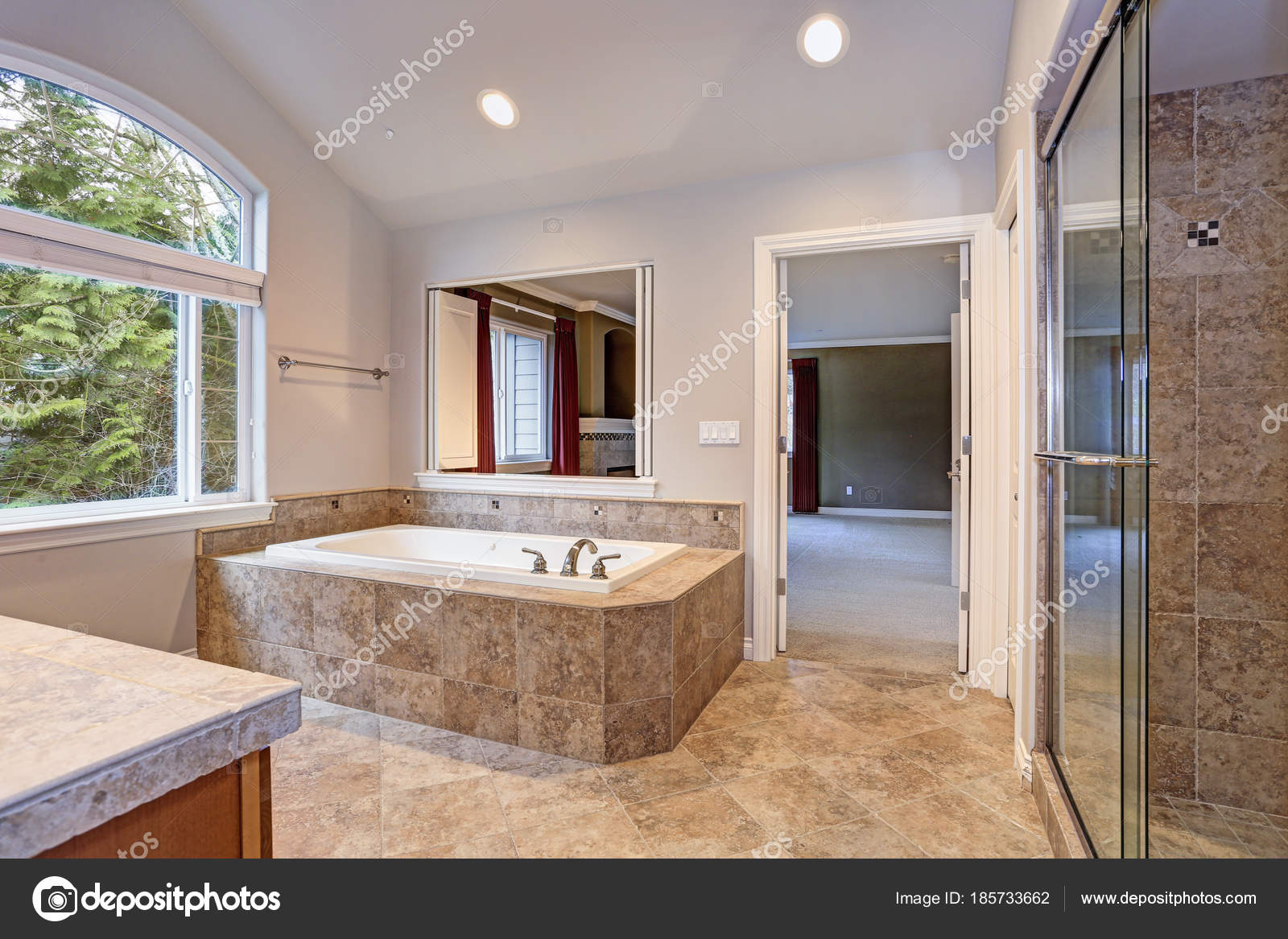 Stunning master bathroom with luxury spa tub. — Stock Photo © alabn ...