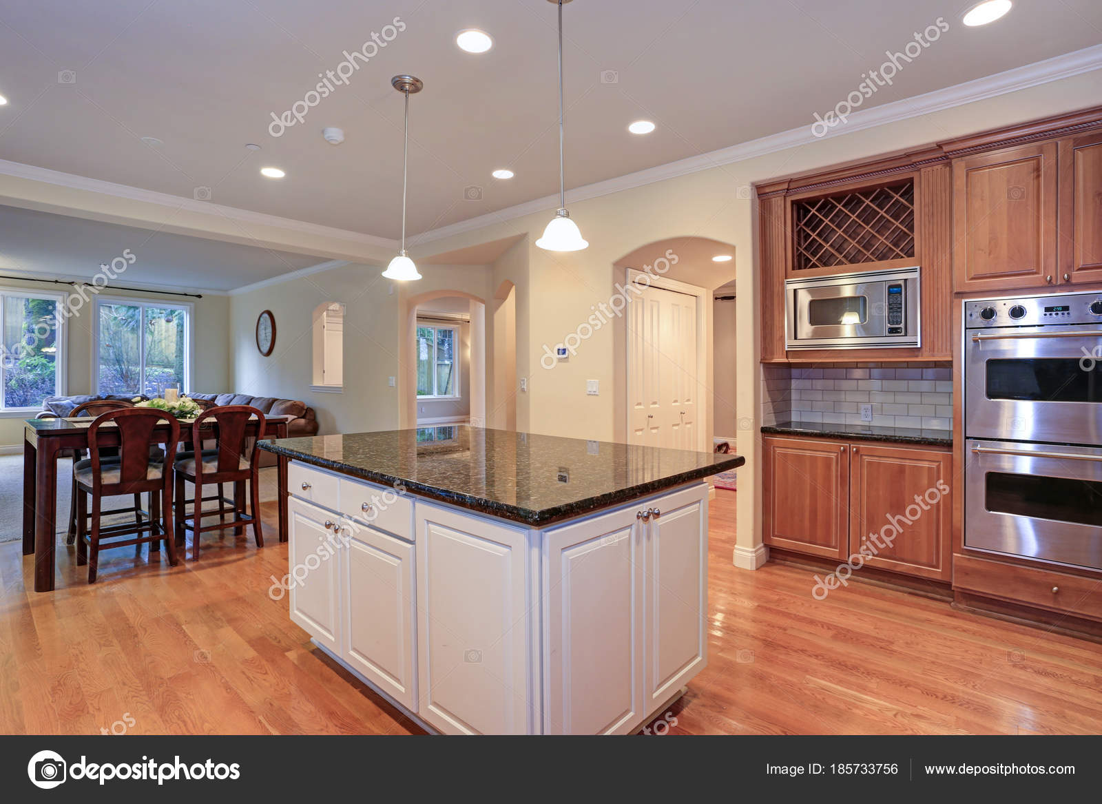 luxury kitchen fitted with viking appliances stock photo alabn rh depositphotos com White Cabinets above Washer and Dryer White Laundry Room