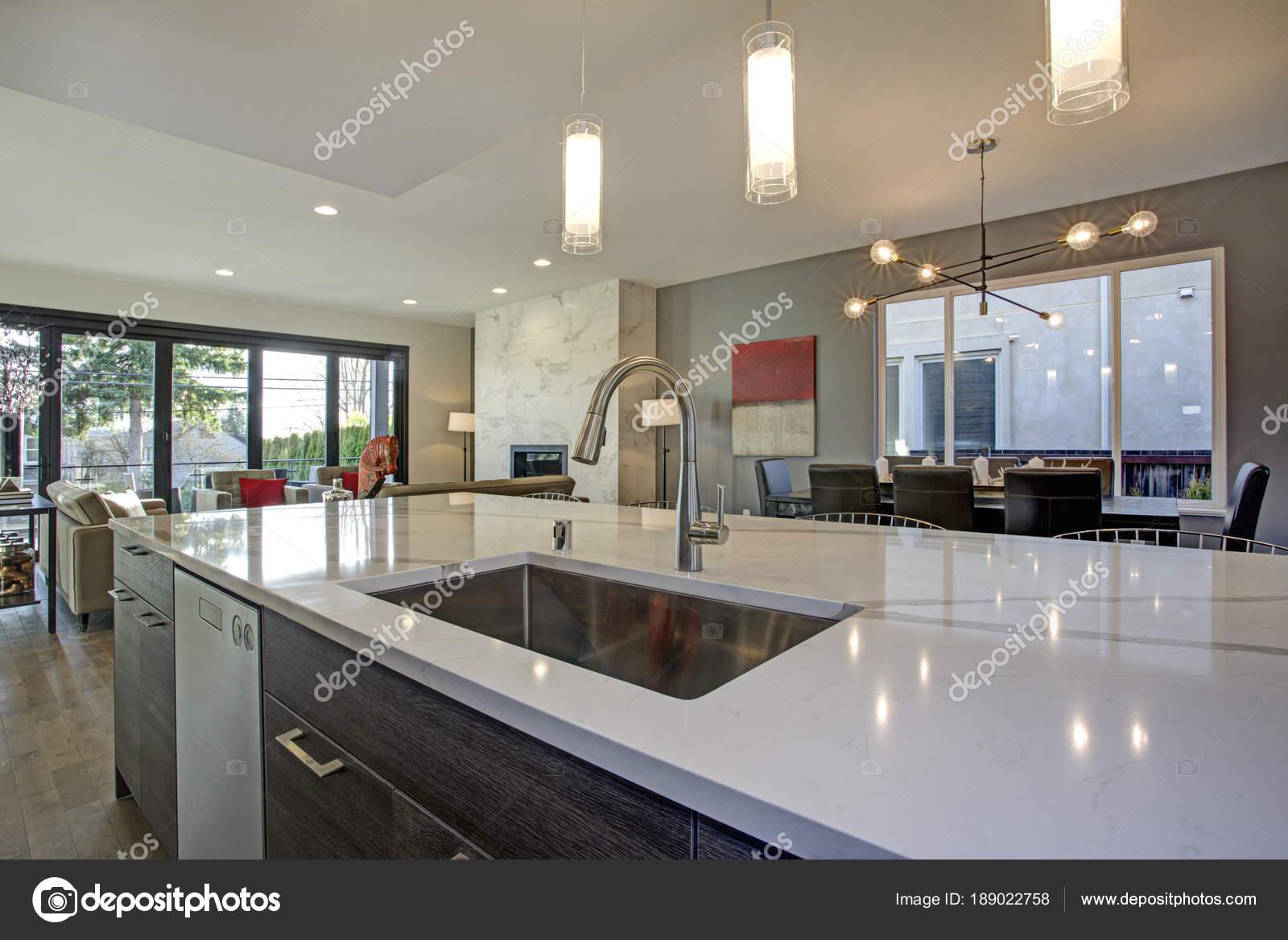 Interior De Sala Cozinha Branco E Cinza Com Piso Plano Aberto
