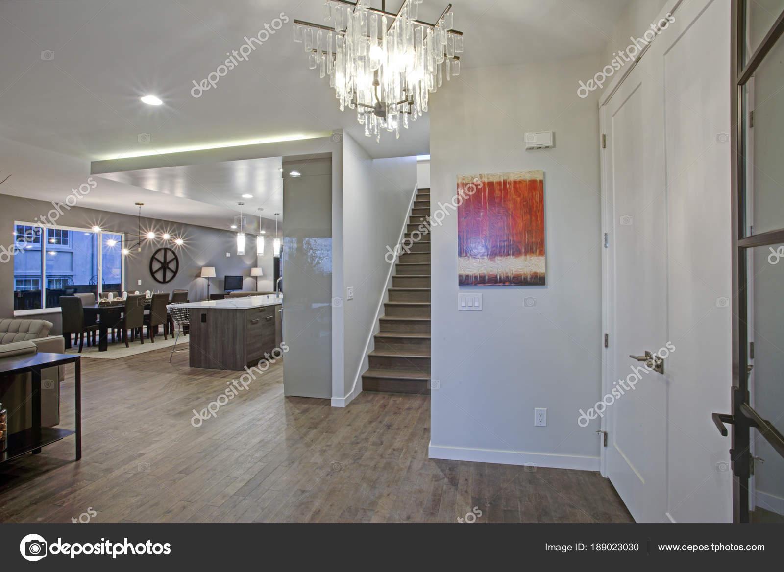 large luxury home interior with open floor plan stock photo