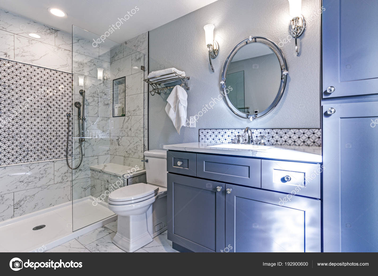 New blue bathroom design with Marble shower Surround — Stock Photo ...