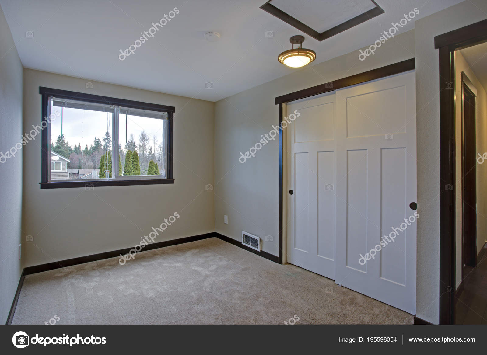 Small Empty Bedroom With Built In Closet Stock Photo C Alabn