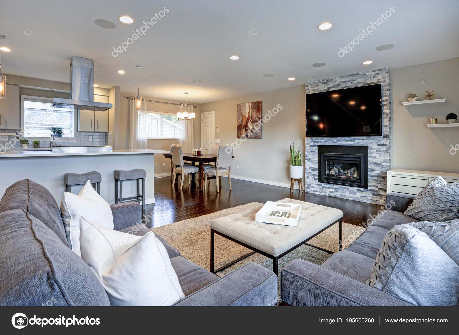 Bel grigio soggiorno con camino in pietra. — Foto Stock ...