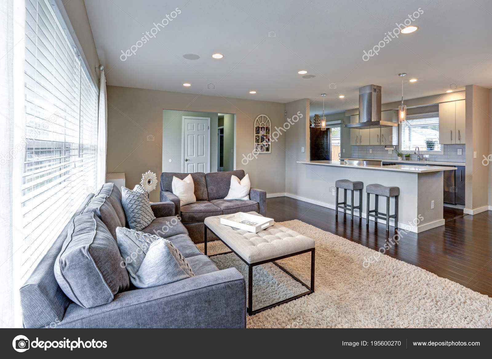 Open Concept Living Room With Lots Of Light. U2014 Stock Photo