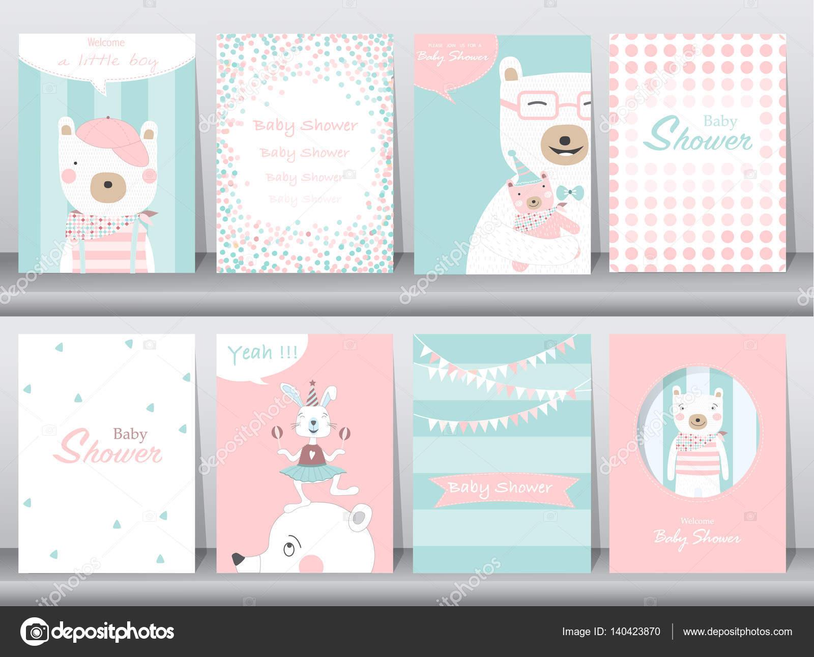 Conjunto de tarjetas de invitación de ducha de bebé, cumpleaños ...