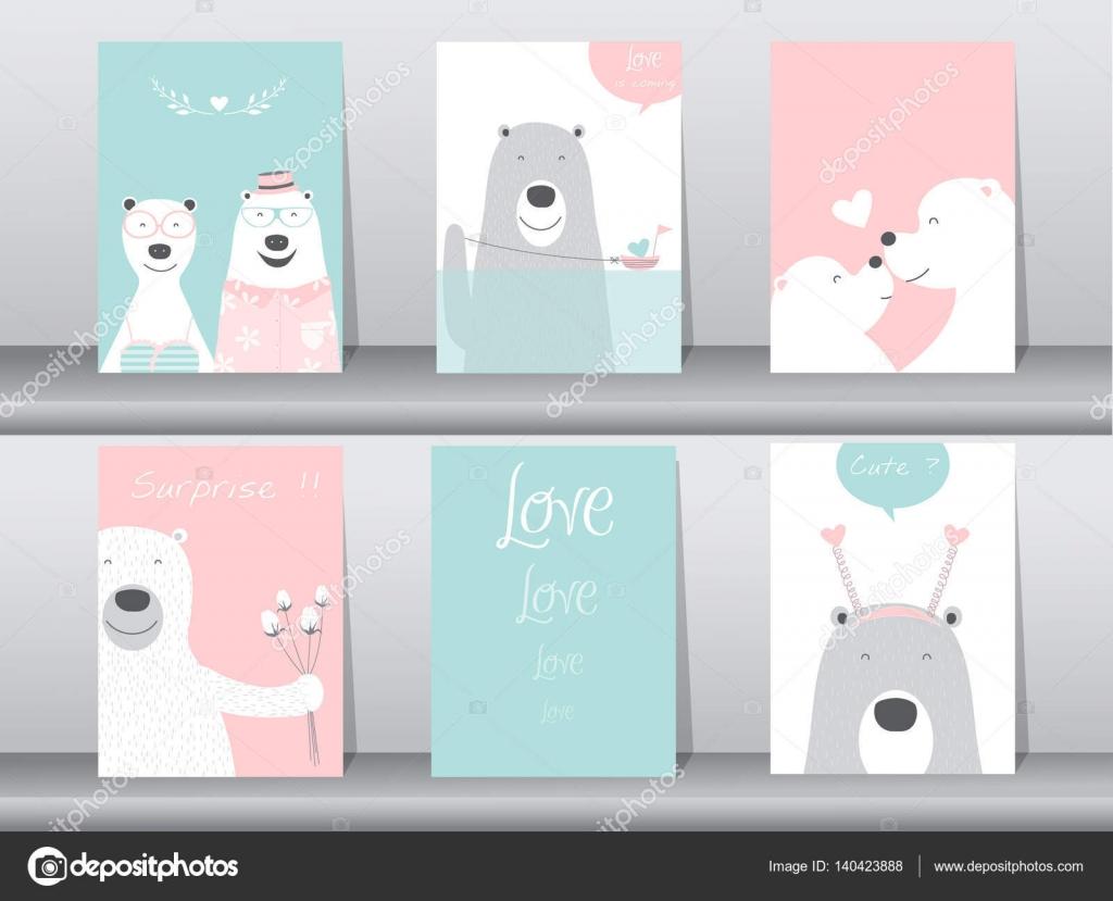 Satz von niedlichen Tiere Poster, Design für Valentinstag, Vorlage ...