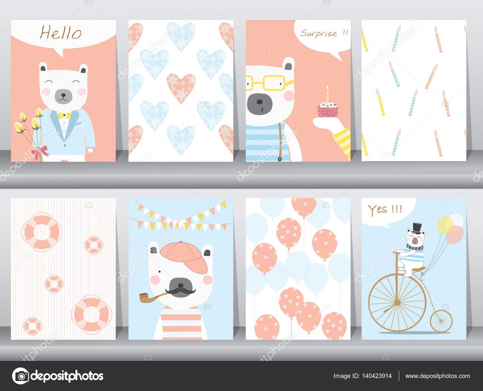 Conjunto de animales lindos cartel, plantilla, tarjetas, oso ...