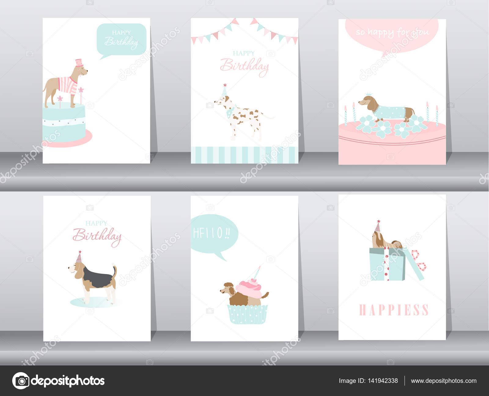 Conjunto de tarjetas de invitaciones de cumpleaños, cartel, saludo ...