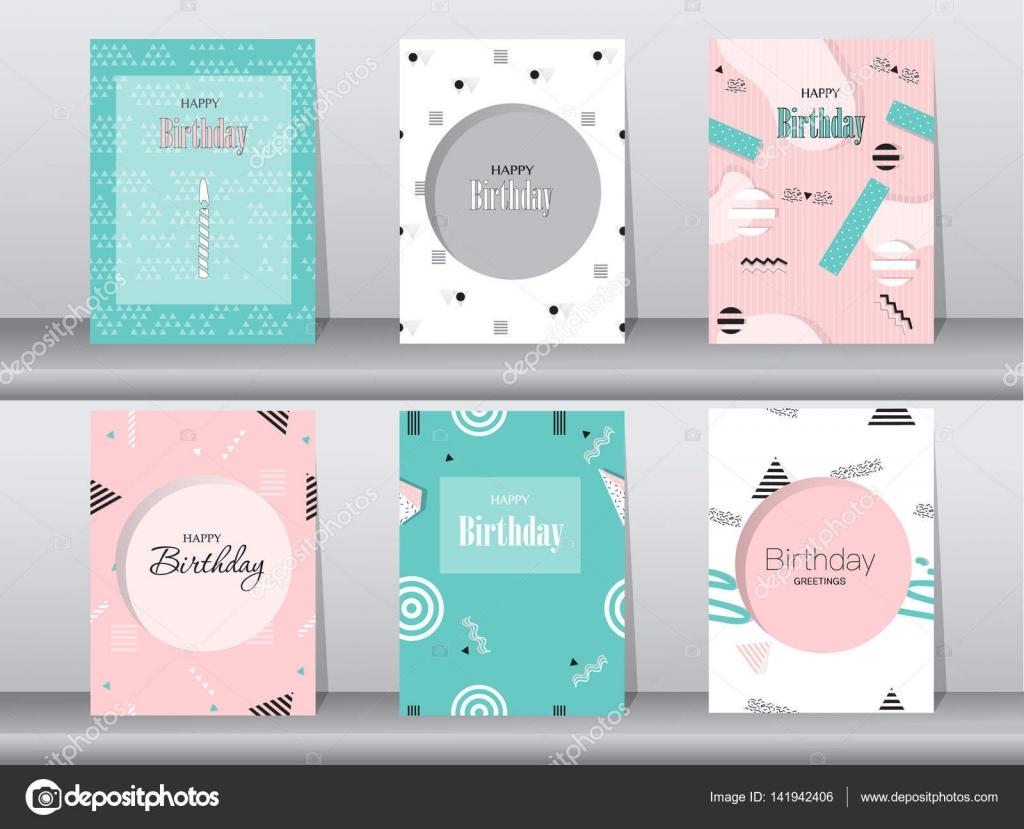 Sistema de la tarjeta de cumpleaños en el patrón de memphis de ...