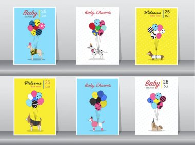 Set of baby shower cards,vintage color,poster,template,greeting cards,balloons,animals,dogs,Vector illustrations