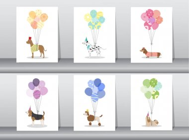 Design of cute animal cards,poster,template,greeting cards,sweet,balloons,dogs,Vector illustrations