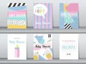 Fotografie Satz von Baby-Dusche-Karte auf Retro-Musterdesign, Vintage, Plakat, Vorlage, Gruß, Vektor-Illustrationen