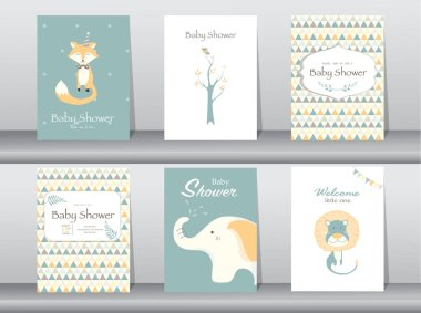 Set of baby shower invitation cards,poster,template,greeting cards,animal,Vector illustrations