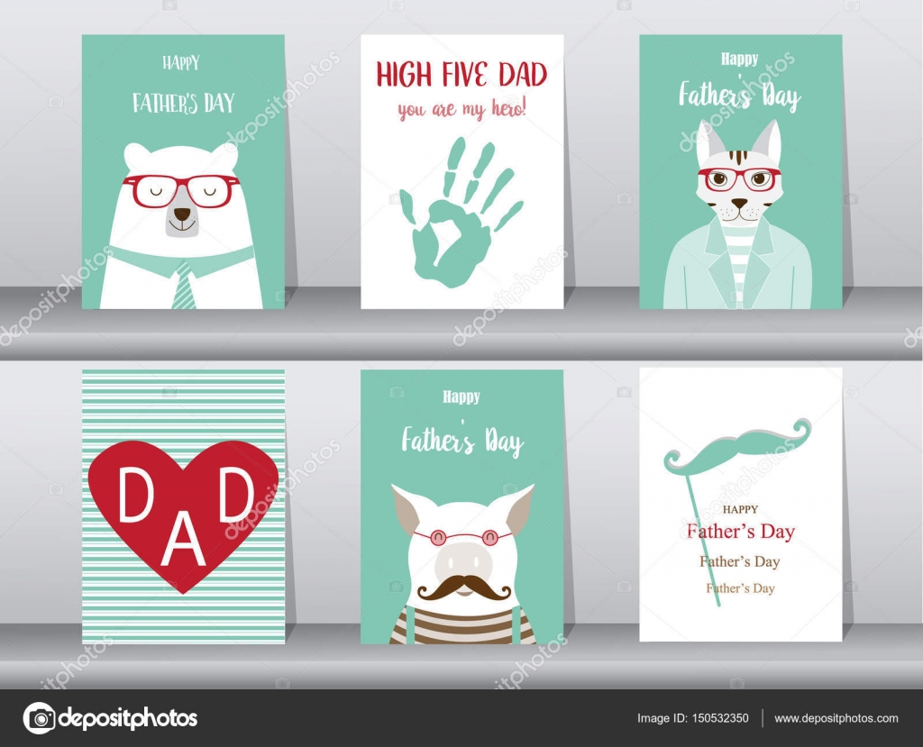 Set of happy fathers day card postertemplategreeting cardscute set of happy fathers day card postertemplategreeting cardscute m4hsunfo