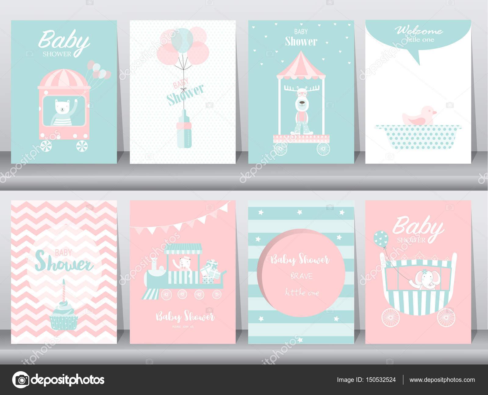 Conjunto de tarjetas de invitación de ducha de bebé, tarjetas de ...