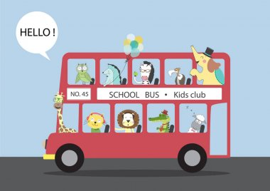 Many animals riding on a bus,Vector illustrations