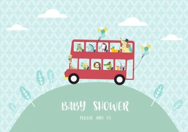 Baby shower invitation cards,many animals riding on a bus,Vector illustrations