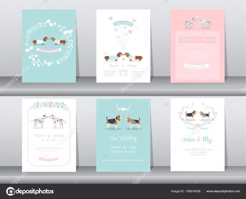 Satz Von Hochzeit Einladungskarten, Poster, Vorlage, Grußkarten, Tiere, Hund,  Vektor