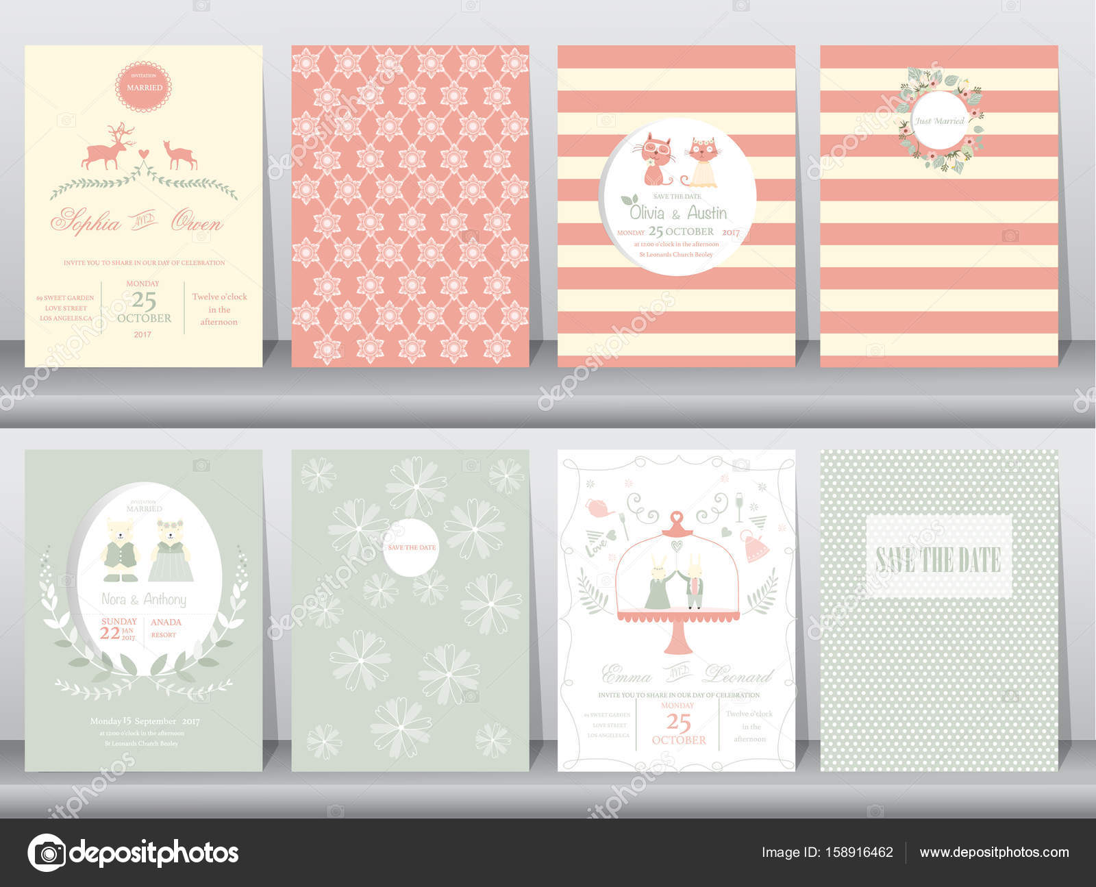 set of wedding invitation cards poster template greeting cards