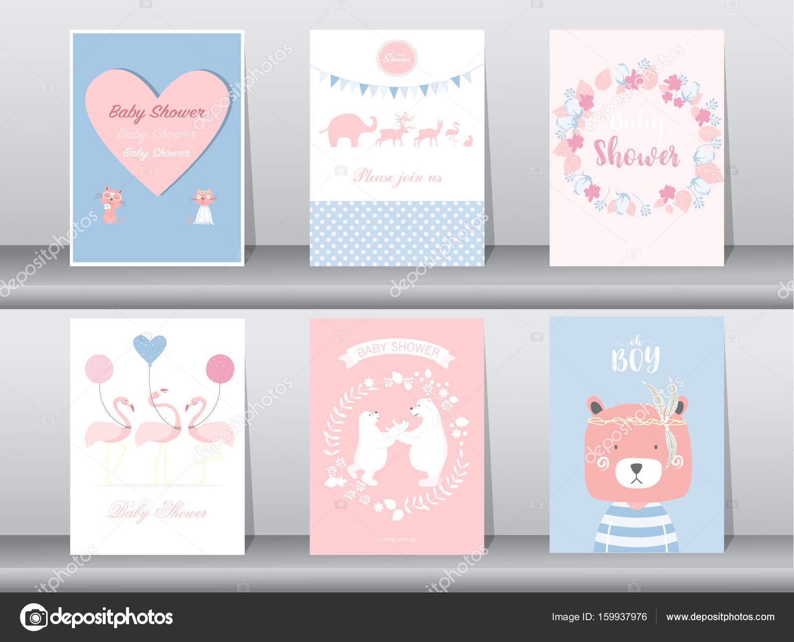 Satz von Baby-Dusche-Einladungen-Karten, Poster, Gruß, Vorlage, Tier ...