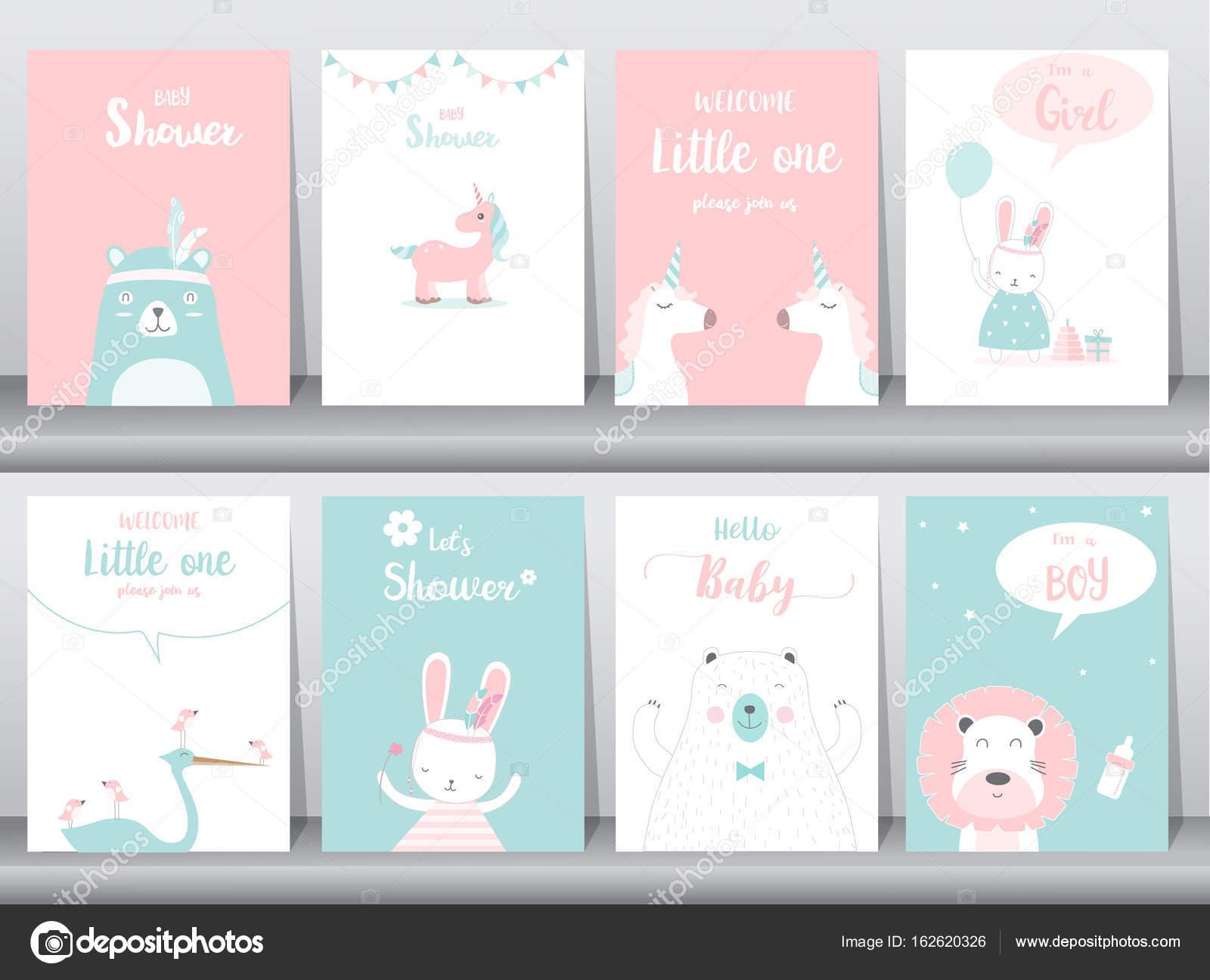 Satz von Baby-Dusche-Einladungen-Karten, Poster, Grußkarten, Vorlage ...