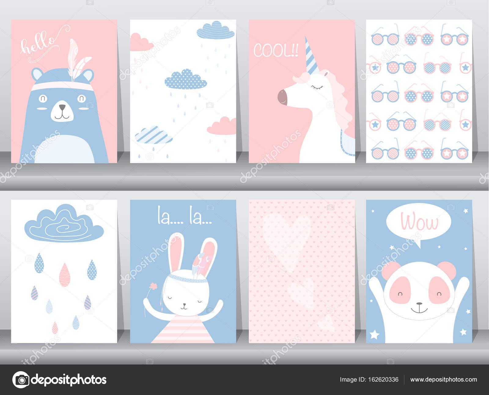 Conjunto de cartel animales lindos, plantilla, tarjetas, oso, conejo ...