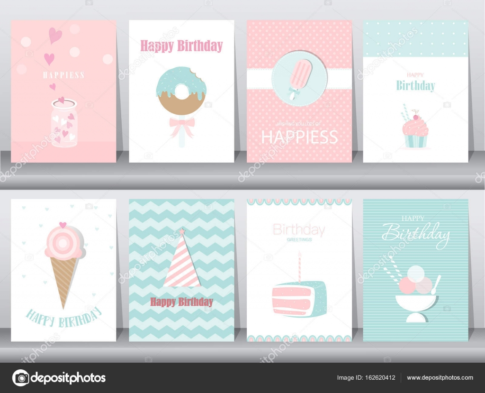 Satz von Geburtstagskarten, Plakat, Vorlage, Grußkarten, Kuchen, Eis ...