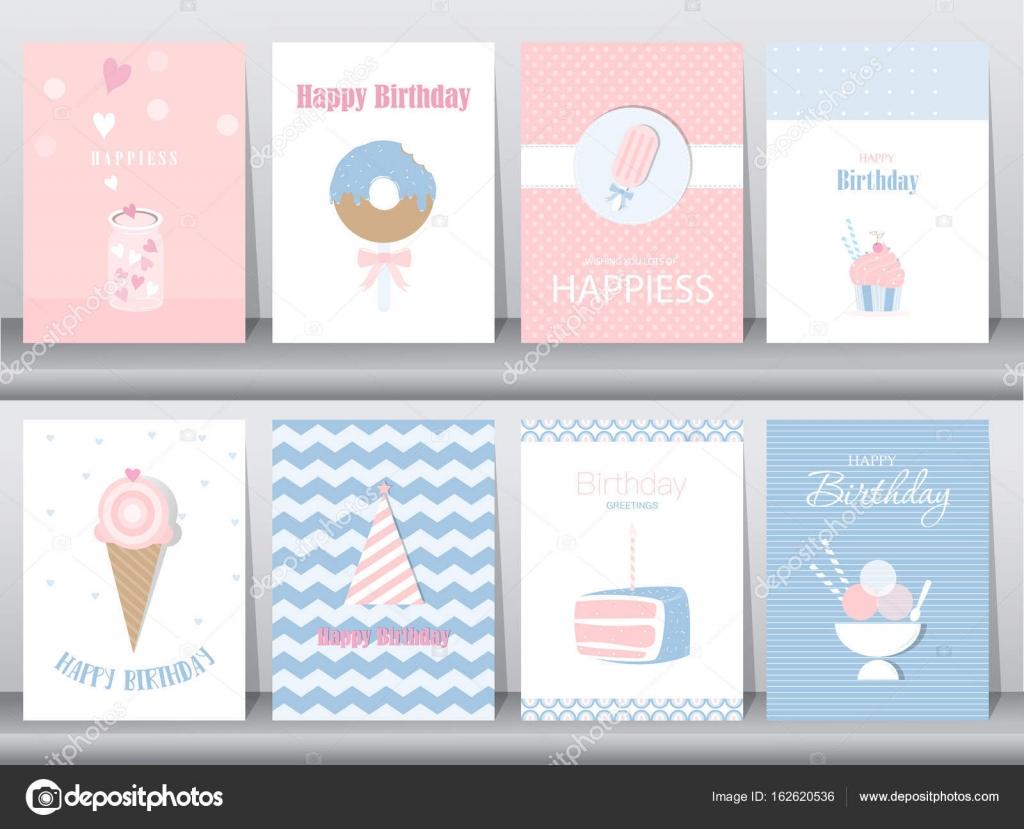 Conjunto de tarjetas de cumpleaños, cartel, plantilla, tarjetas ...