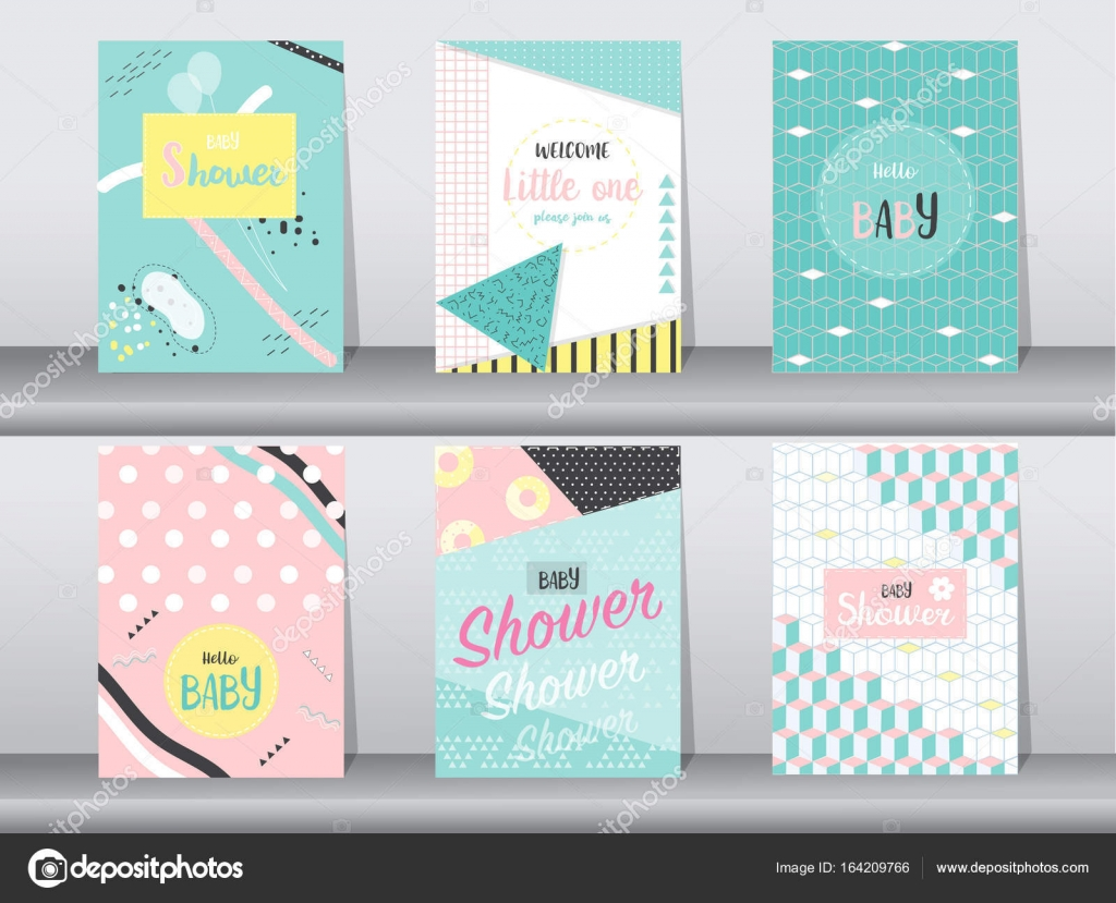 Set of baby shower card on retro pattern designvintageposter set of baby shower card on retro pattern designvintagepostertemplate greetingvector illustrations vector by issayhihotmail m4hsunfo