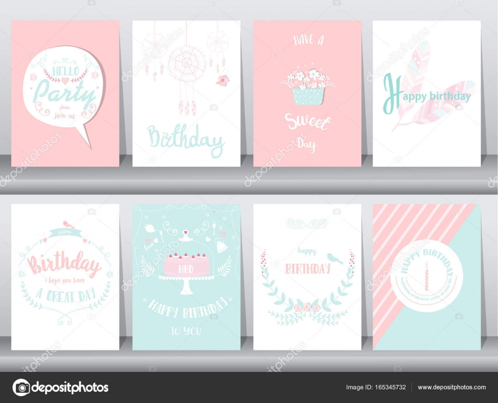Conjunto de tarjetas de cumpleaños, cartel, plantilla, tarjetas de ...