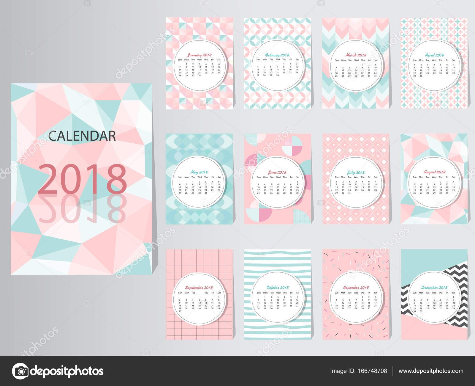 Calendario 2016 Vector plantilla de diseño con el patrón abstracto ...