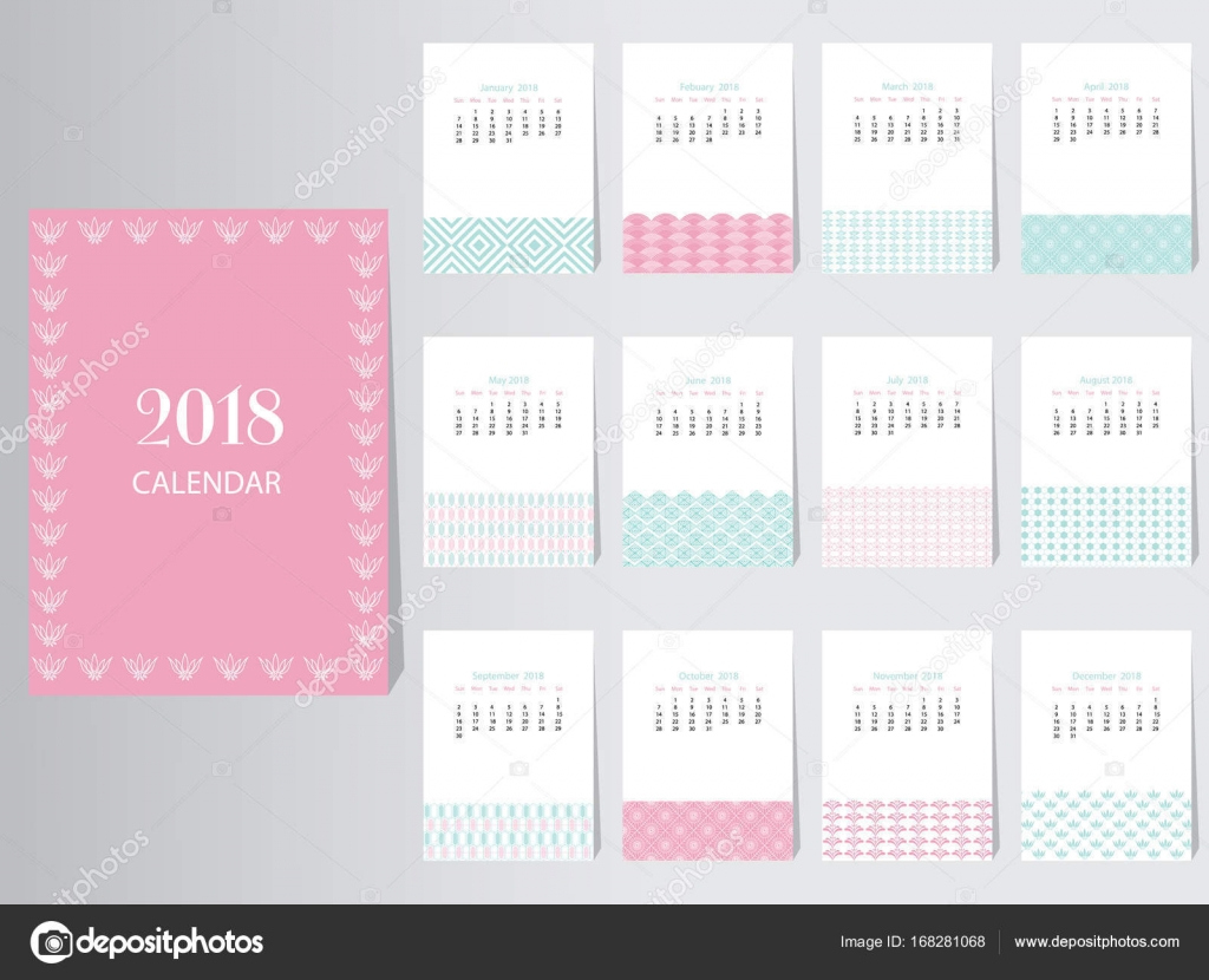 Plantilla de diseño de Vector calendario 2018 con el patrón ...