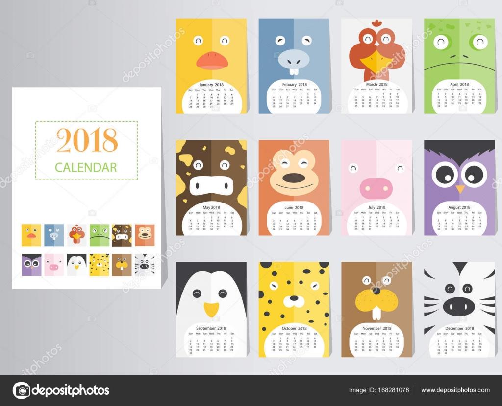 Lustige Tier 2018 Kalenderdesign, stellen Sie das Jahr des Hundes ...