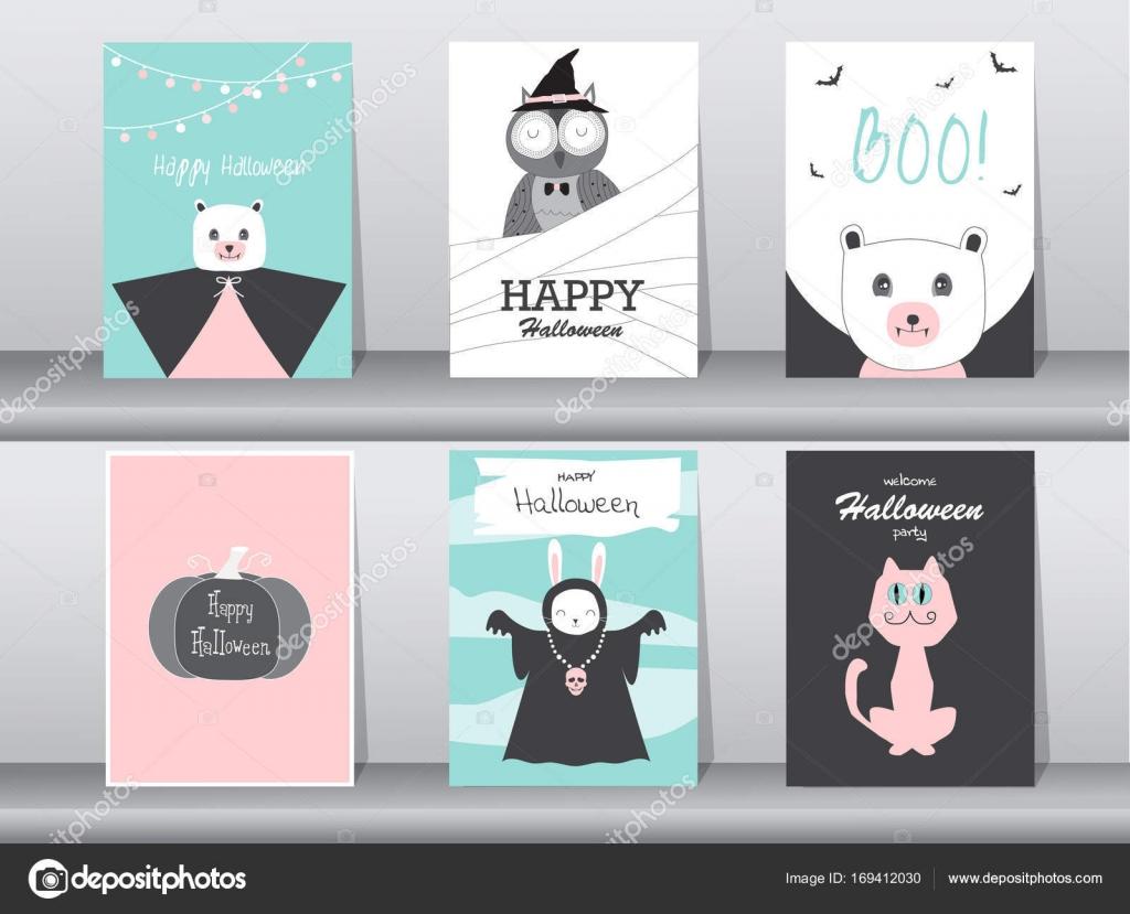 Conjunto de tarjetas de invitaciones de Halloween, cartel, de ...