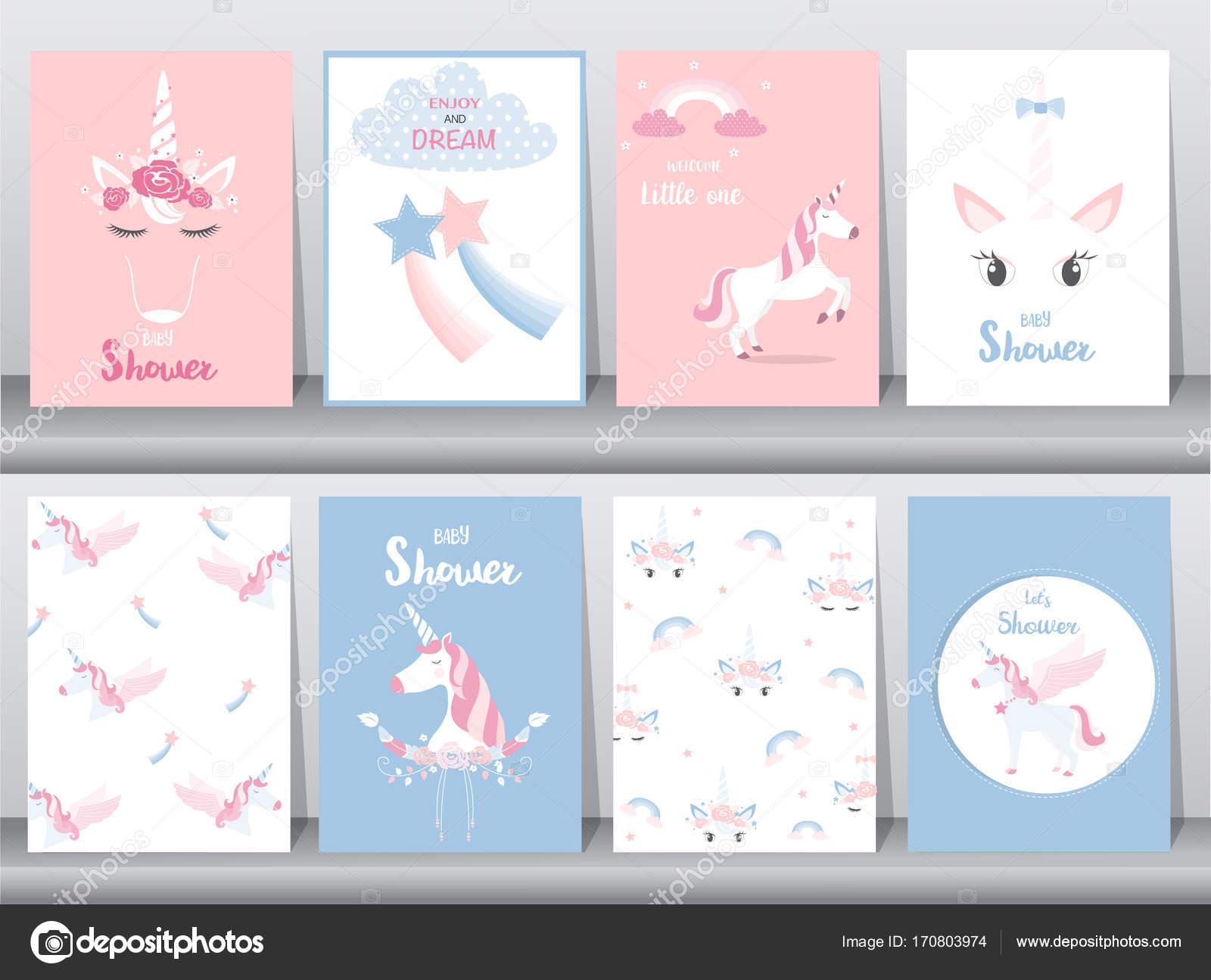 Conjunto de bebé ducha invitaciones tarjetas, cartel, saludo ...