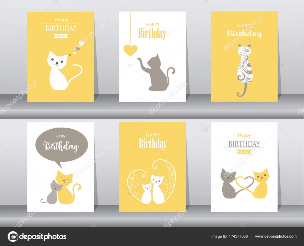 Conjunto de tarjetas de cumpleaños, cartel, tarjetas de invitación ...