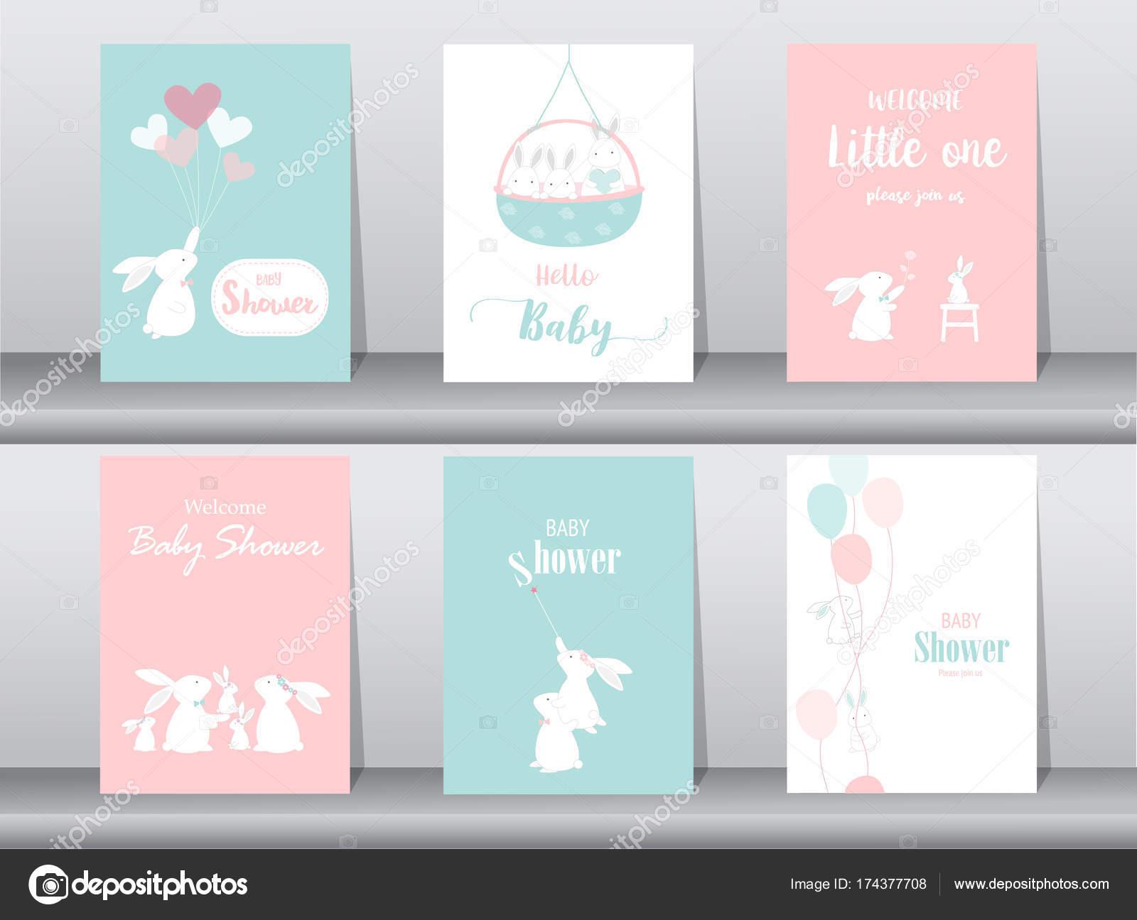 Conjunto bebé ducha invitaciones de tarjetas de, cartel, saludo ...