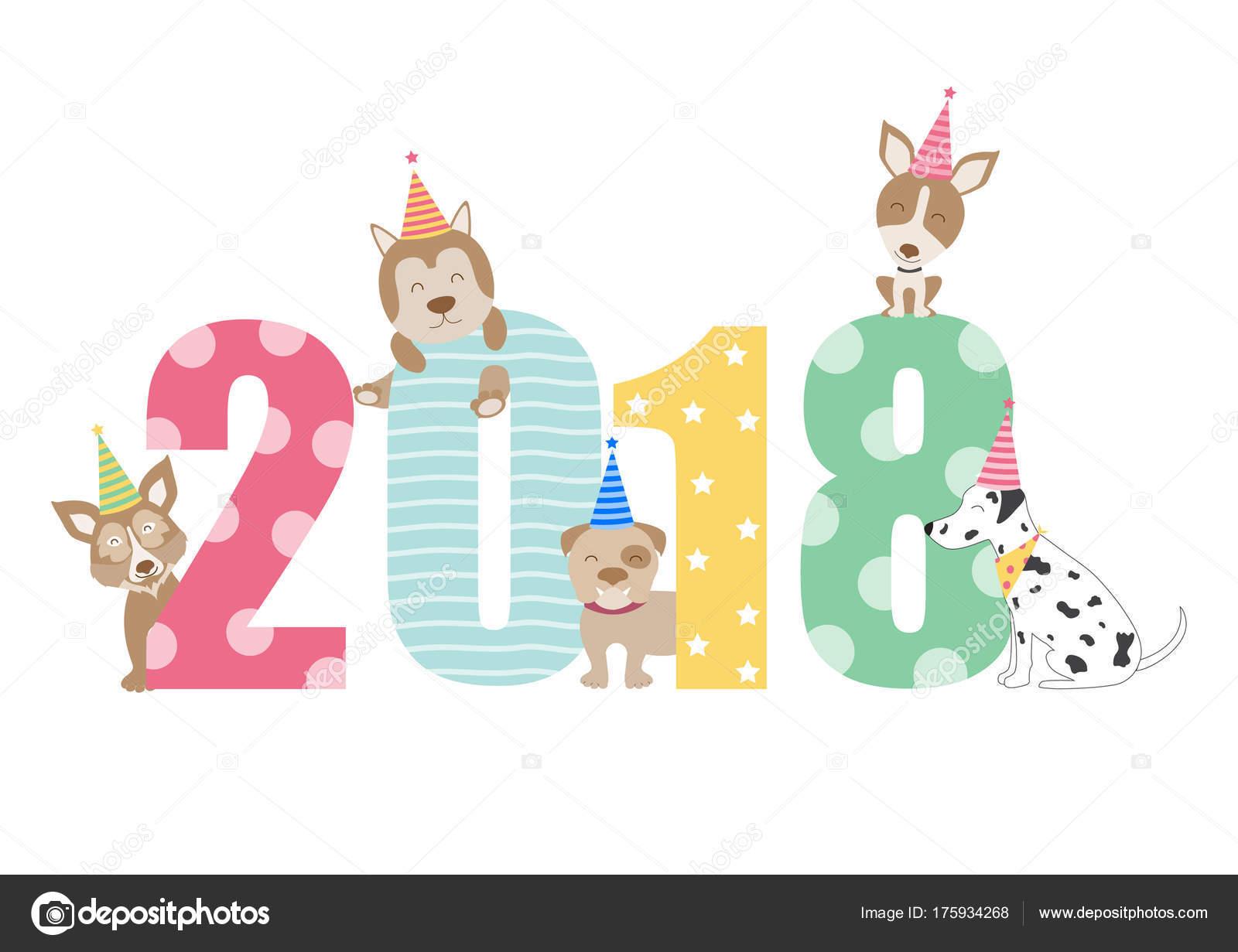 Diseño de calendario 2018 retrato perro, el año de las plantillas de ...