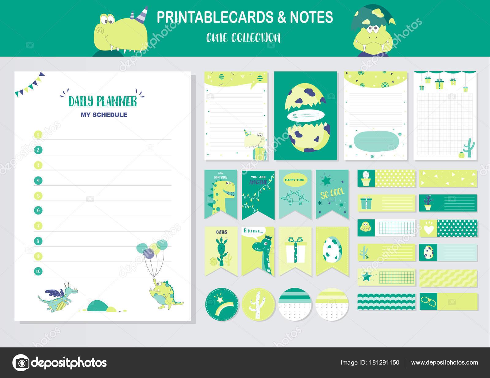 Conjunto de animales y tarjetas de vector cute, imprimibles ...