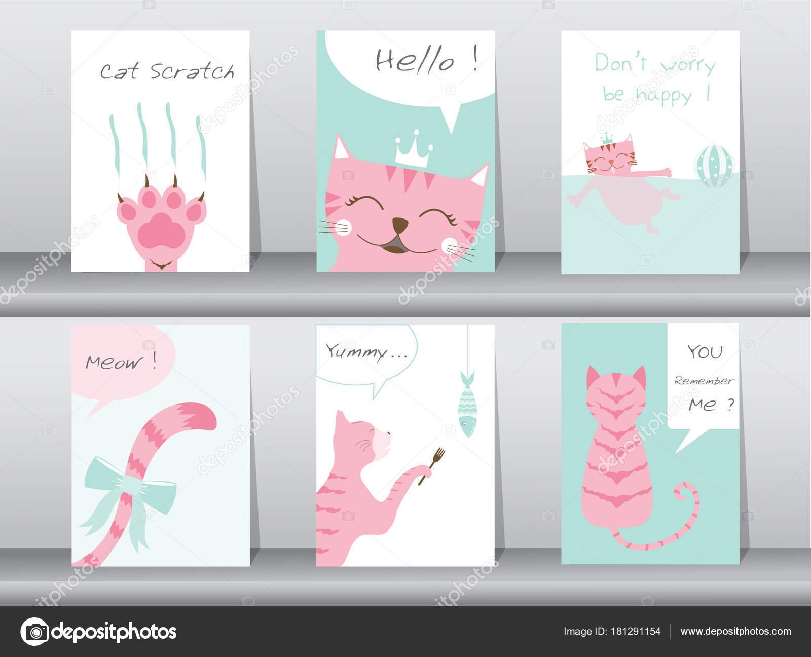 Conjunto de animales lindos cartel, plantilla, tarjetas, gatos ...