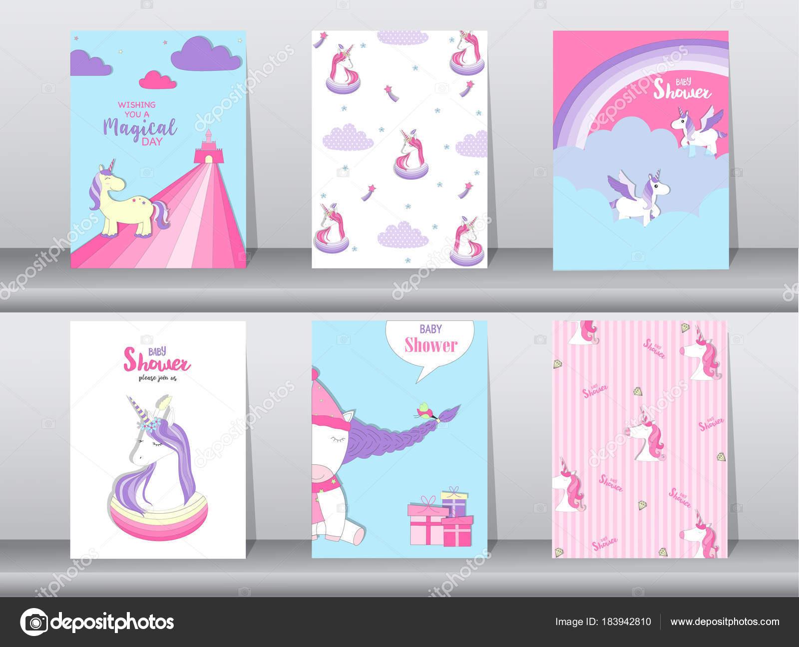 Set Of Baby Shower Invitation Cardsbirthday Cardspostertemplate