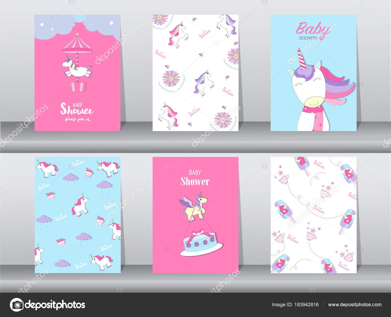 Set Of Baby Shower Invitation Cards Birthday Cards Poster Template