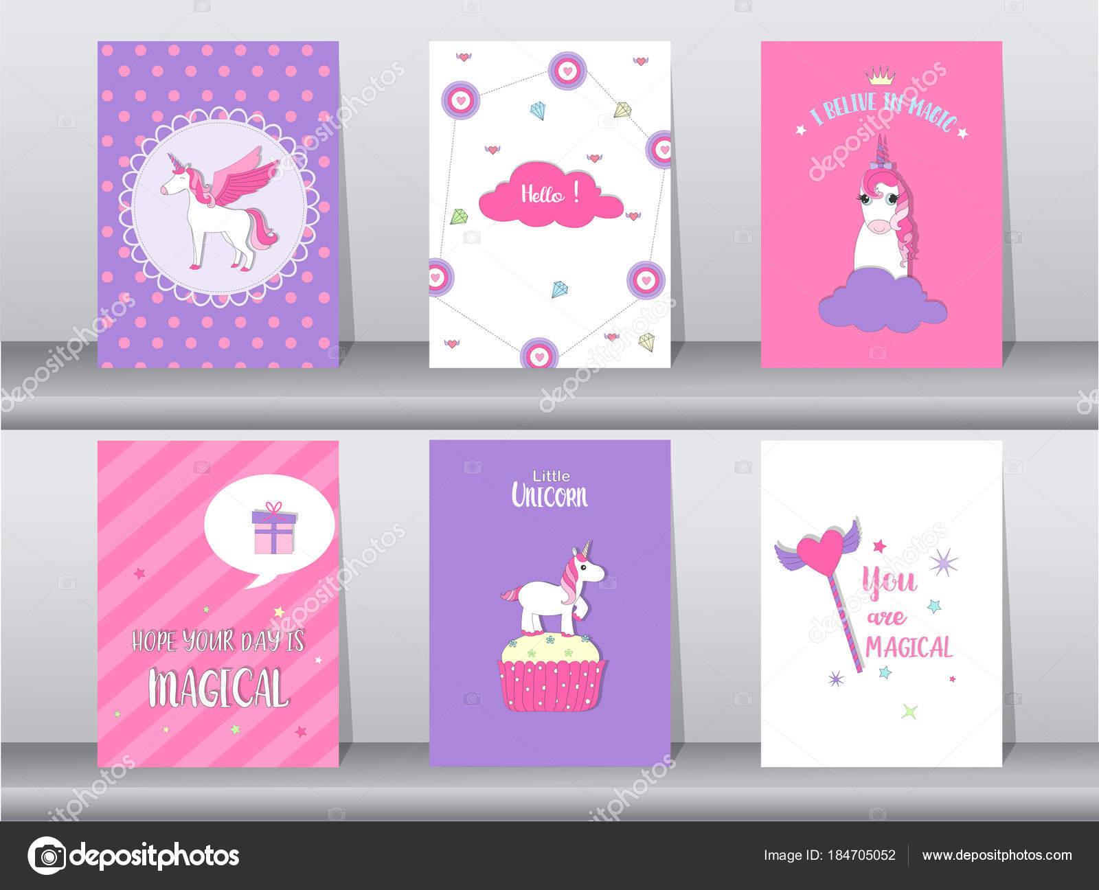 Conjunto de cartel lindo de la fantasía, plantilla, tarjetas ...