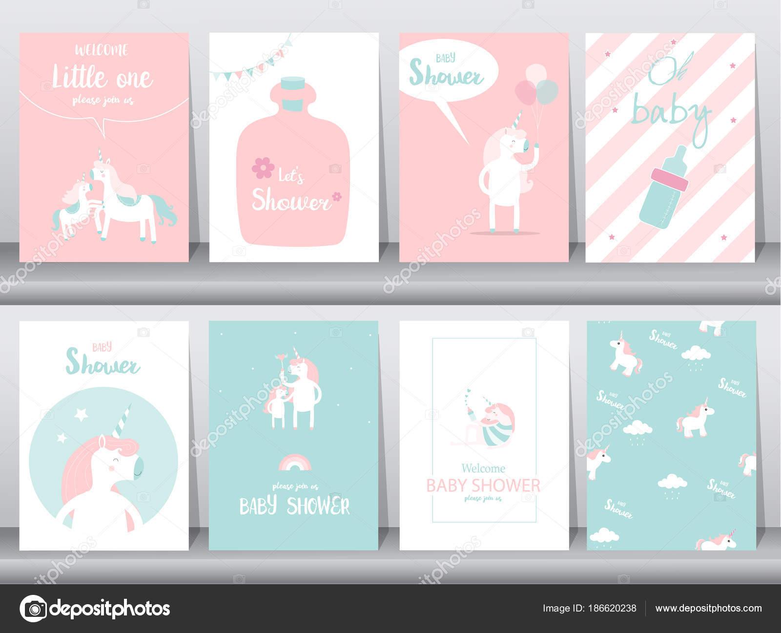 Conjunto de tarjetas de bebé ducha invitaciones, cartel, saludo ...