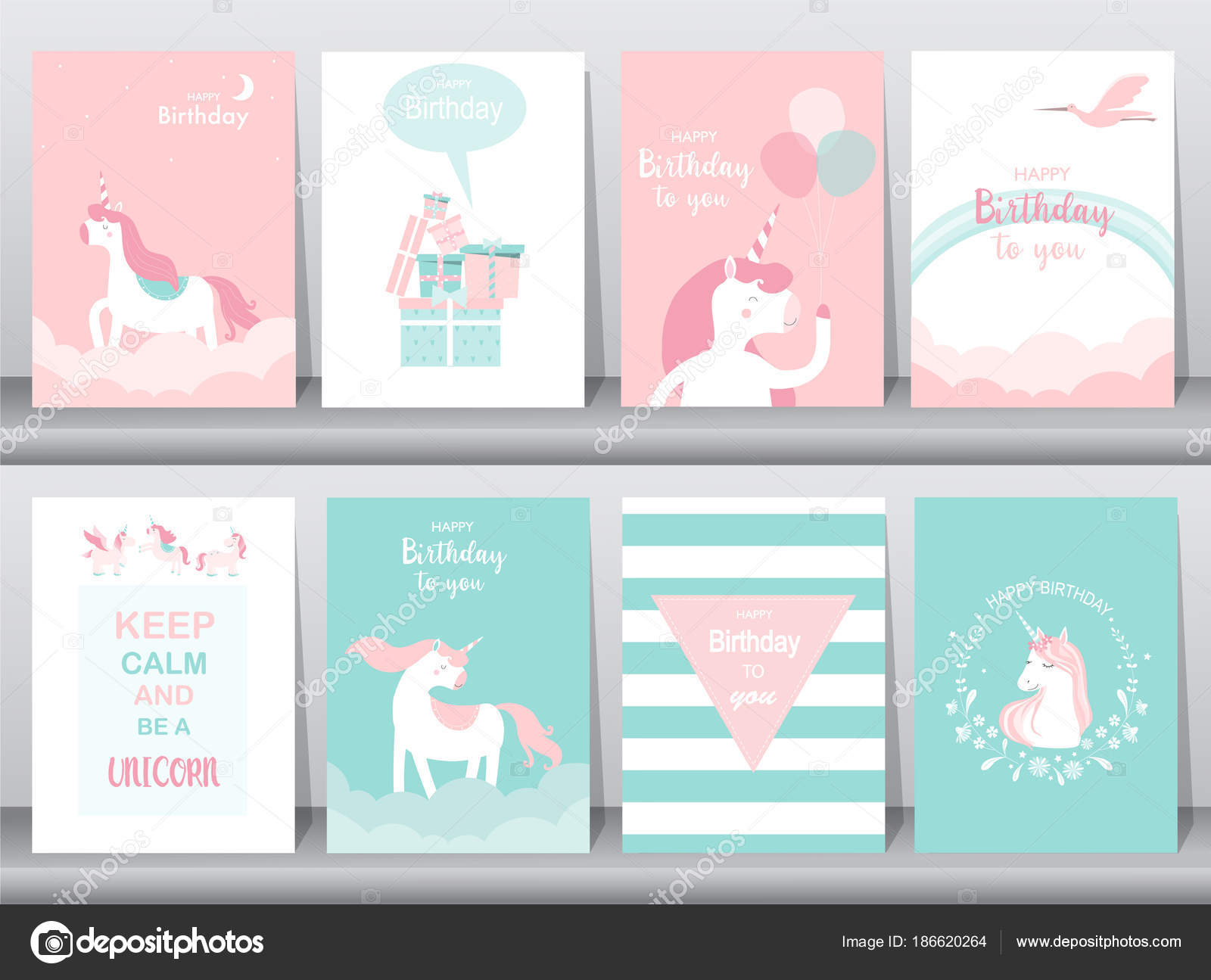 Set Of Birthday Cards Poster Invitations Cards Template Greeting