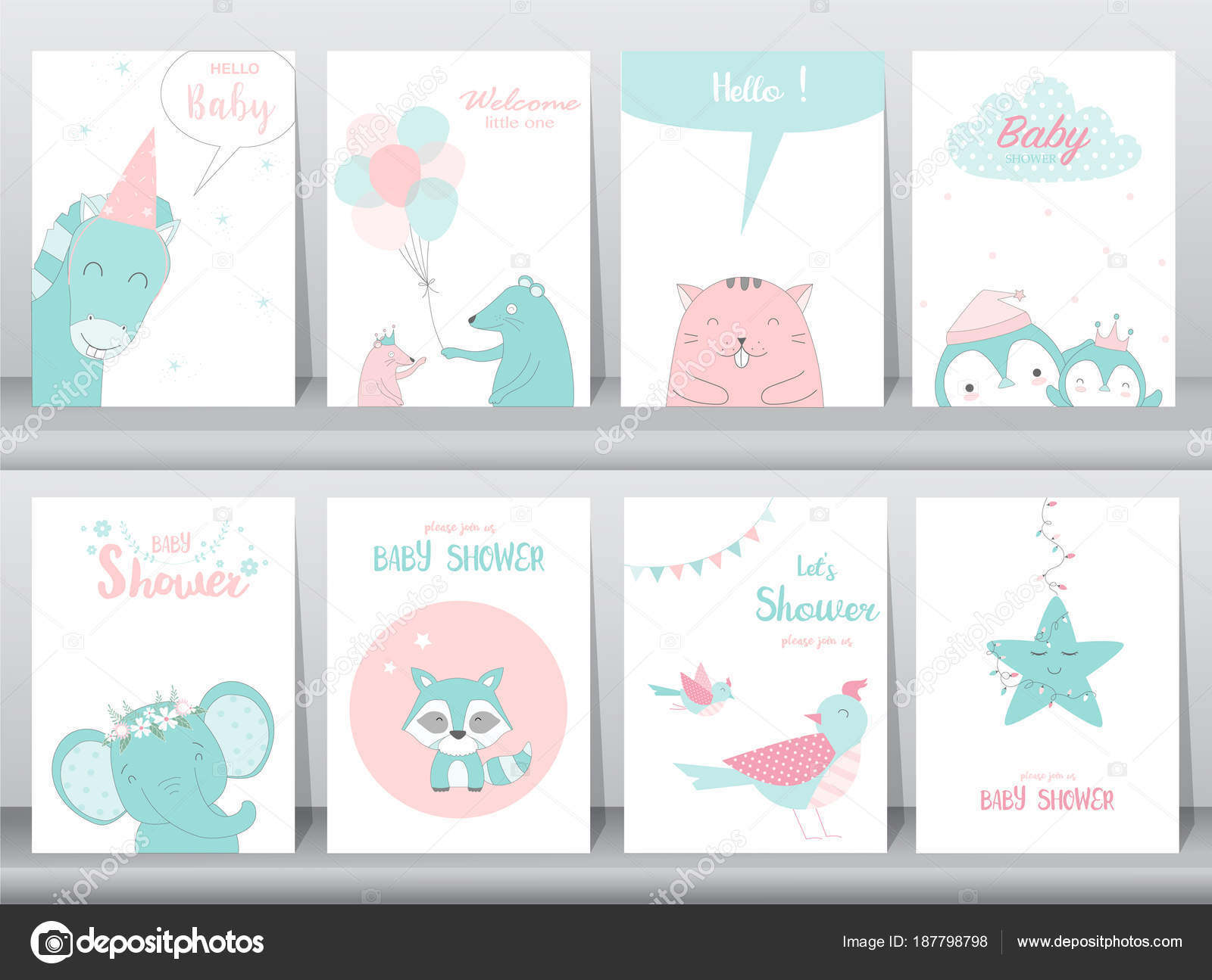 Conjunto de tarjetas de bebé ducha invitaciones, tarjeta de ...