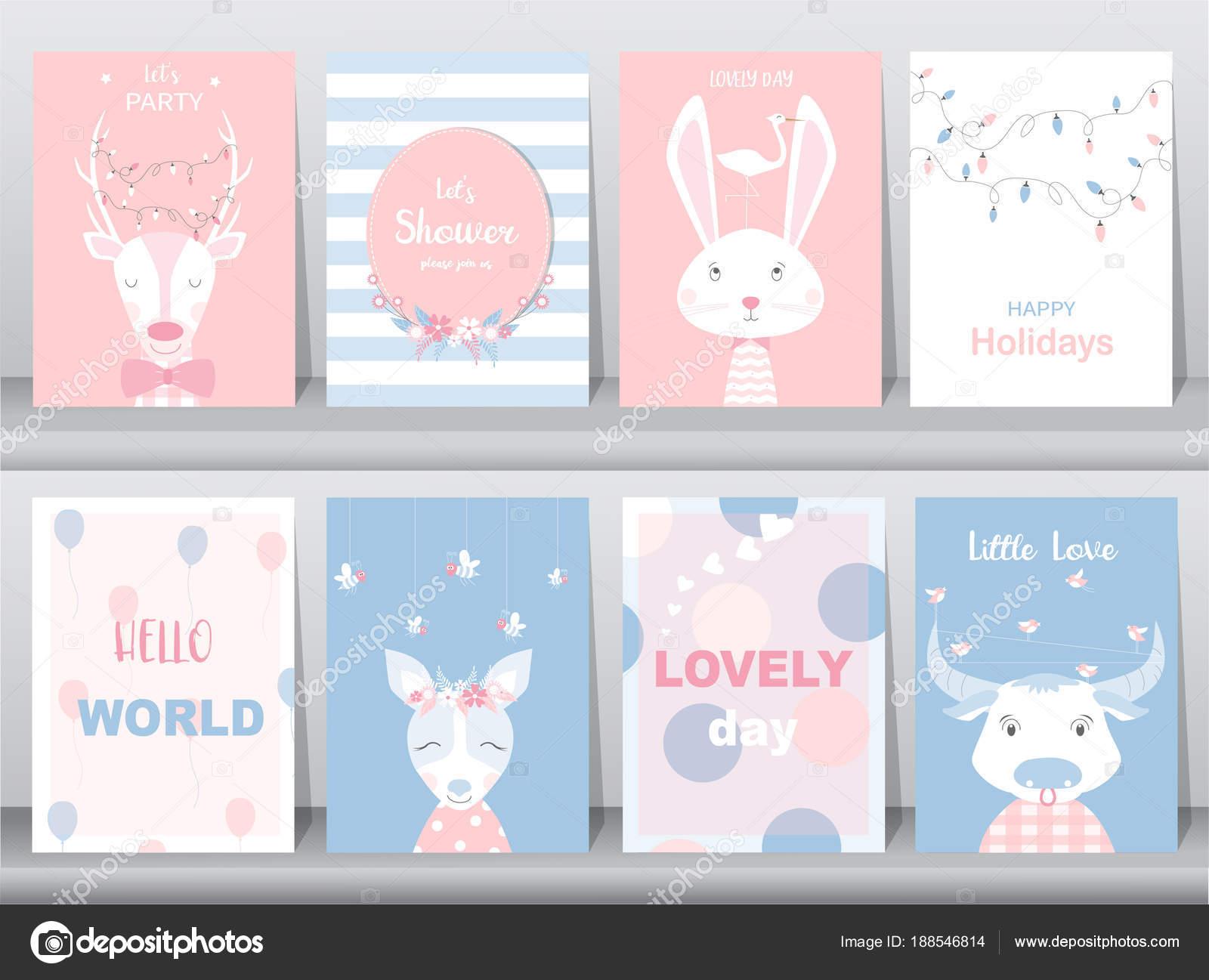 Conjunto de cartel animales lindos, tarjetas de felicitación ...