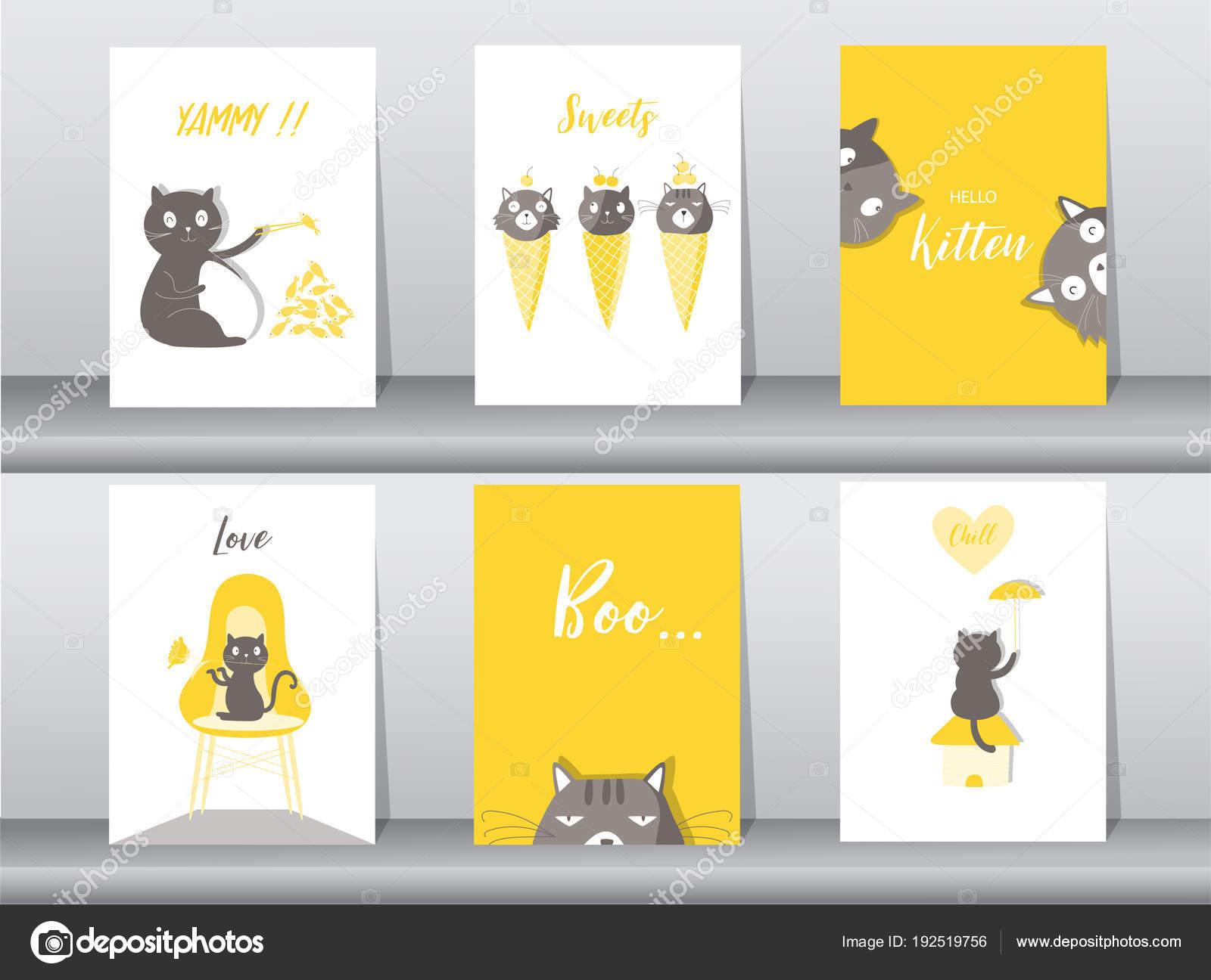 Conjunto de cartel animales lindos, plantilla, tarjetas, gatos ...